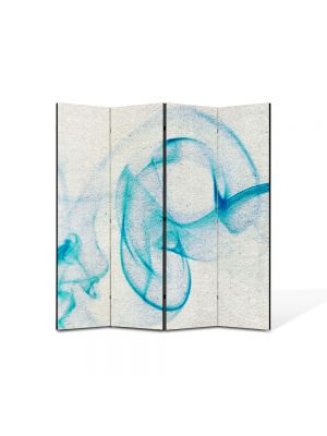 Paravan de Camera ArtDeco din 4 Panouri Abstract Decorativ Fum bleu 140 x 150 cm