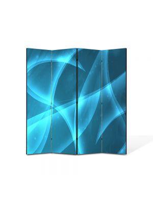 Paravan de Camera ArtDeco din 4 Panouri Abstract Decorativ Lumina Bleu 140 x 150 cm