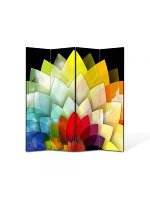 Paravan de Camera ArtDeco din 4 Panouri Abstract Decorativ Floare stilizata 140 x 150 cm