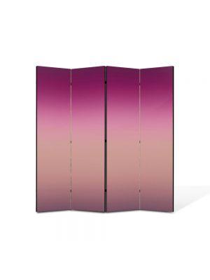 Paravan de Camera ArtDeco din 4 Panouri Abstract Decorativ Nuante de violet 140 x 150 cm
