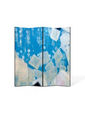Paravan de Camera ArtDeco din 4 Panouri Abstract Decorativ Cuburi de gheata 140 x 150 cm
