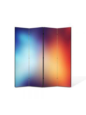 Paravan de Camera ArtDeco din 4 Panouri Abstract Decorativ Rosu si albastru 140 x 150 cm