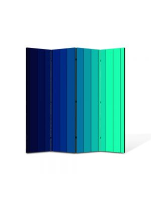 Paravan de Camera ArtDeco din 4 Panouri Abstract Decorativ Dungi albastre 140 x 150 cm