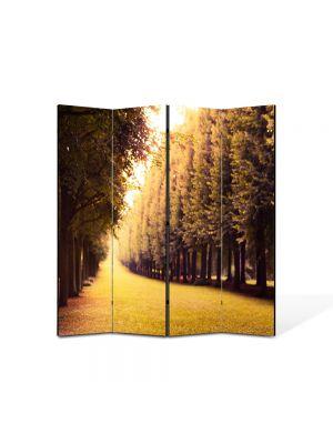 Paravan de Camera ArtDeco din 4 Panouri Peisaj Drum pavat 105 x 150 cm