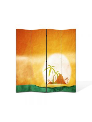 Paravan de Camera ArtDeco din 4 Panouri Peisaj Insule tropicale 105 x 150 cm