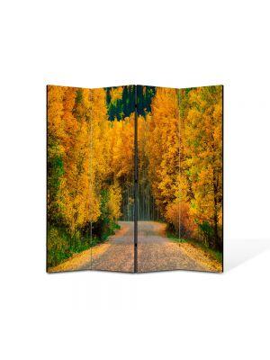 Paravan de Camera ArtDeco din 4 Panouri Peisaj Toamna pe drum 105 x 150 cm