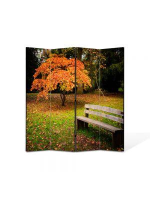 Paravan de Camera ArtDeco din 4 Panouri Peisaj Banca in parc 105 x 150 cm
