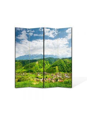 Paravan de Camera ArtDeco din 4 Panouri Peisaj Peste dealuri 105 x 150 cm