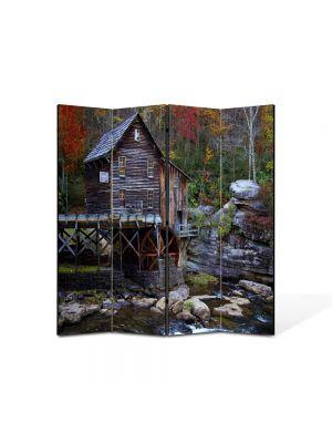 Paravan de Camera ArtDeco din 4 Panouri Peisaj Moara de apa 105 x 150 cm