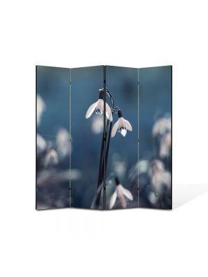 Paravan de Camera ArtDeco din 4 Panouri Peisaj Ghiocei gemeni 105 x 150 cm