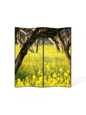 Paravan de Camera ArtDeco din 4 Panouri Peisaj Floricele sub copaci 105 x 150 cm