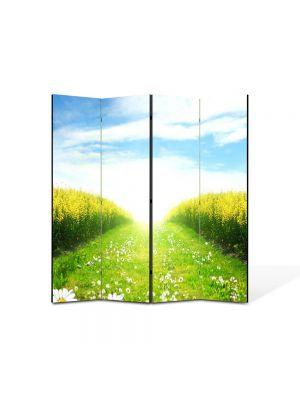Paravan de Camera ArtDeco din 4 Panouri Peisaj Peste lan 105 x 150 cm