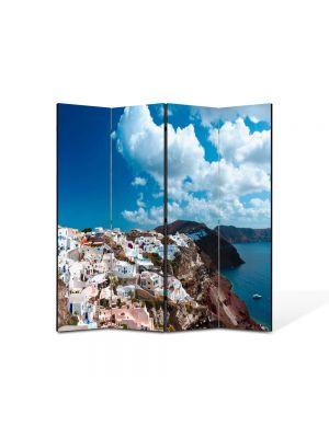 Paravan de Camera ArtDeco din 4 Panouri Peisaj Grecia 105 x 150 cm