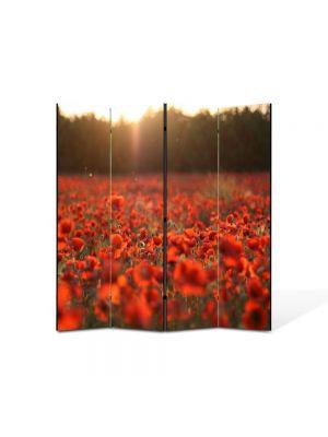 Paravan de Camera ArtDeco din 4 Panouri Peisaj Camp de maci 105 x 150 cm