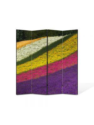 Paravan de Camera ArtDeco din 4 Panouri Peisaj Lanuri colorate 105 x 150 cm