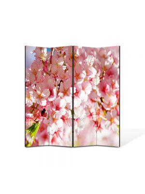 Paravan de Camera ArtDeco din 4 Panouri Peisaj Flori de gutui 105 x 150 cm