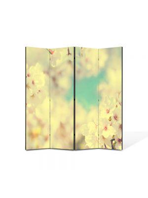 Paravan de Camera ArtDeco din 4 Panouri Peisaj Alb-turcuaz 105 x 150 cm