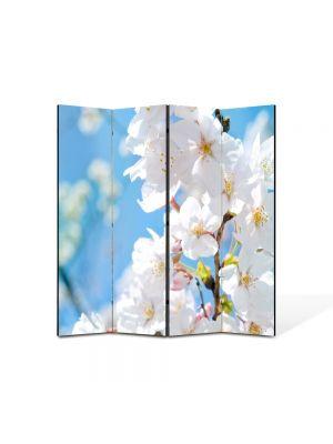 Paravan de Camera ArtDeco din 4 Panouri Peisaj Floare nuante Alb-albaste  105 x 150 cm