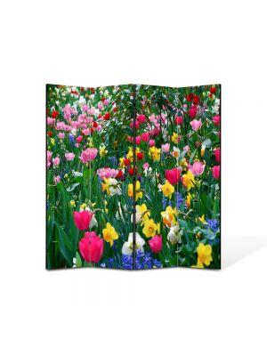 Paravan de Camera ArtDeco din 4 Panouri Peisaj Flori inghesuite 105 x 150 cm