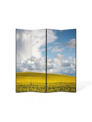 Paravan de Camera ArtDeco din 4 Panouri Peisaj Nori frumosi 105 x 150 cm