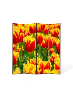 Paravan de Camera ArtDeco din 4 Panouri Peisaj Lalele in 2lori 105 x 150 cm
