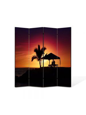 Paravan de Camera ArtDeco din 4 Panouri Peisaj Palmier la apus 105 x 150 cm