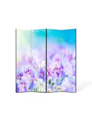 Paravan de Camera ArtDeco din 4 Panouri Peisaj Flori violet 105 x 150 cm