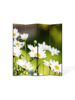 Paravan de Camera ArtDeco din 4 Panouri Peisaj Flori de musetel 105 x 150 cm