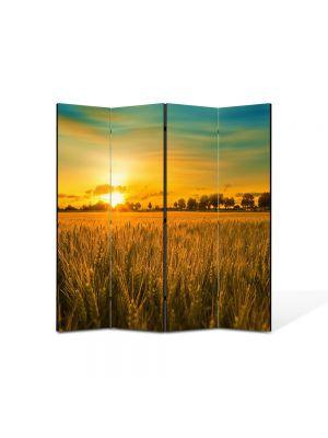 Paravan de Camera ArtDeco din 4 Panouri Peisaj Apus in lanul de grau 105 x 150 cm