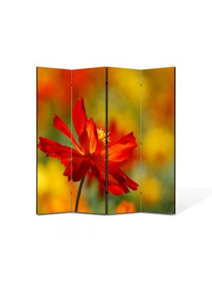 Paravan de Camera ArtDeco din 4 Panouri Peisaj Floare singuratica 105 x 150 cm