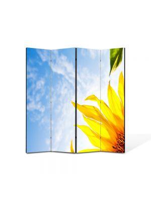Paravan de Camera ArtDeco din 4 Panouri Peisaj Sora soarelui 105 x 150 cm