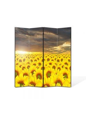 Paravan de Camera ArtDeco din 4 Panouri Peisaj Lan de floarea soarelui 105 x 150 cm