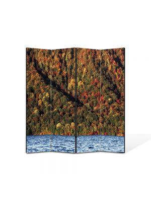 Paravan de Camera ArtDeco din 4 Panouri Peisaj Lac 105 x 150 cm