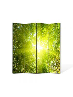 Paravan de Camera ArtDeco din 4 Panouri Peisaj Raze de soare 105 x 150 cm