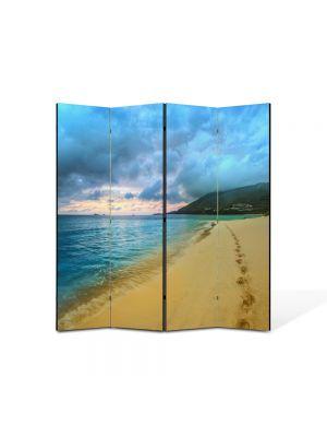 Paravan de Camera ArtDeco din 4 Panouri Peisaj Urme de pasi 105 x 150 cm