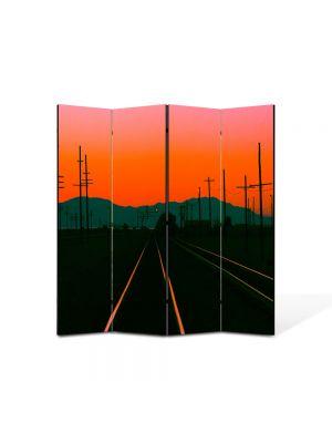 Paravan de Camera ArtDeco din 4 Panouri Peisaj Cale ferata la apus 105 x 150 cm