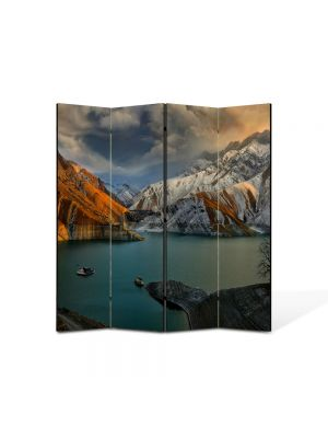Paravan de Camera ArtDeco din 4 Panouri Peisaj In port 105 x 150 cm
