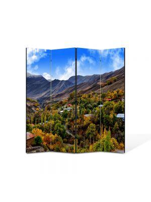Paravan de Camera ArtDeco din 4 Panouri Peisaj Dealuri 105 x 150 cm