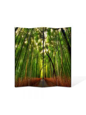 Paravan de Camera ArtDeco din 4 Panouri Peisaj Padure de bambus 105 x 150 cm