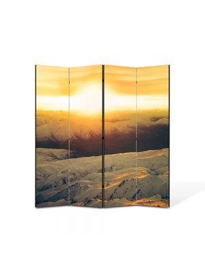 Paravan de Camera ArtDeco din 4 Panouri Peisaj Zapada si apus 105 x 150 cm