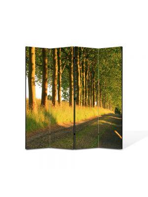 Paravan de Camera ArtDeco din 4 Panouri Peisaj Copaci pe marginea drumului 105 x 150 cm