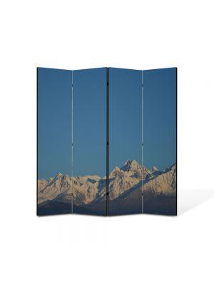 Paravan de Camera ArtDeco din 4 Panouri Peisaj Cer si munti 105 x 150 cm