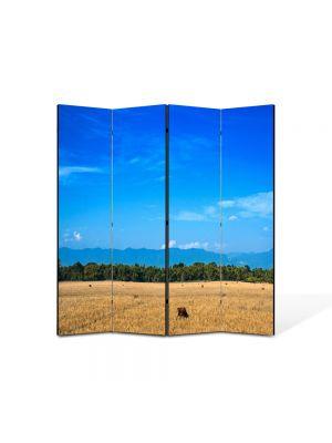 Paravan de Camera ArtDeco din 4 Panouri Peisaj Maro si albastru 105 x 150 cm