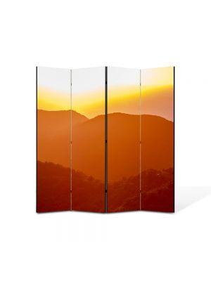 Paravan de Camera ArtDeco din 4 Panouri Peisaj Siluete de dealuri 105 x 150 cm