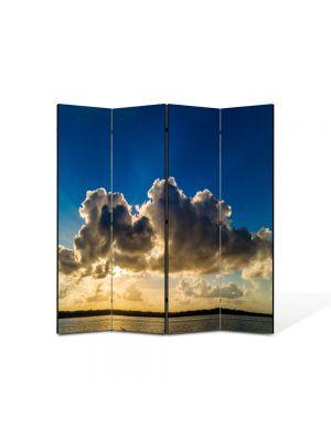 Paravan de Camera ArtDeco din 4 Panouri Peisaj Siluete de nori 105 x 150 cm