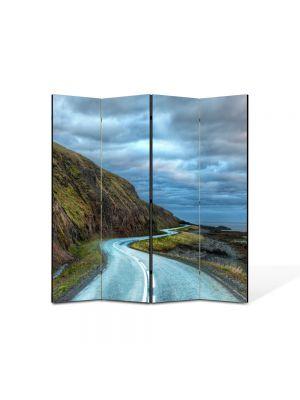 Paravan de Camera ArtDeco din 4 Panouri Peisaj Drum serpuit 105 x 150 cm