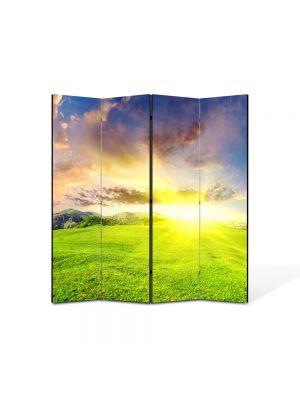 Paravan de Camera ArtDeco din 4 Panouri Peisaj Campie perfecta 105 x 150 cm