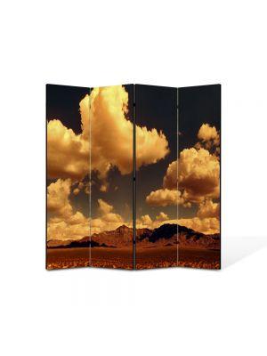 Paravan de Camera ArtDeco din 4 Panouri Peisaj portocaliu 105 x 150 cm