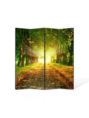 Paravan de Camera ArtDeco din 4 Panouri Peisaj Lumini fantastice 105 x 150 cm