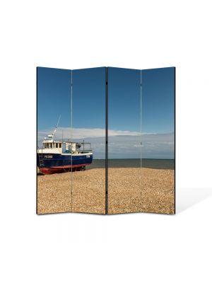 Paravan de Camera ArtDeco din 4 Panouri Peisaj Barca esuata 105 x 150 cm